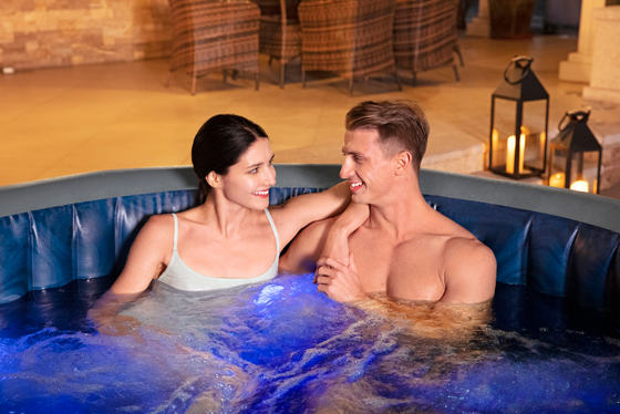 lay z spa hot tub with lights