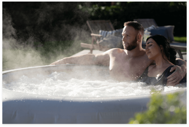 Hot tub in use