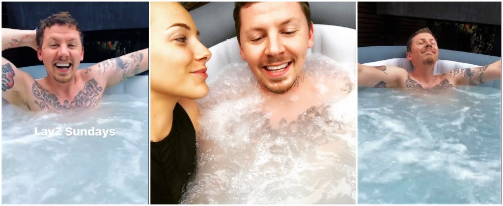 Professor Green in a Lay-Z-Spa
