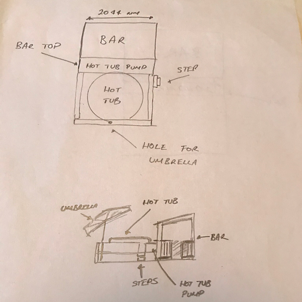 Plans for a DIY hot tub shelter and surround