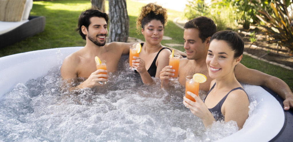6 person hot tub. Portable spa with LED Lights.