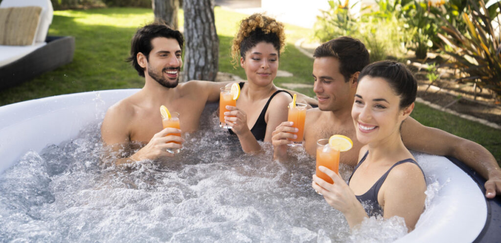 Stay hydrated when using your portable hot tub in the sun.