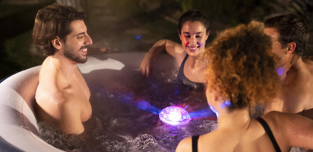 Inflatable hot tub with LED Lights. The ultimate hot tub accessory is included for free with this Lay-Z-Spa.