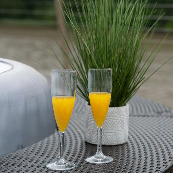 Alternative Mimosa recipe. Using the Lay-Z-Spa Champagne Glasses, we created this alcohol-free mimosa recipe to that everyone can enjoy it.