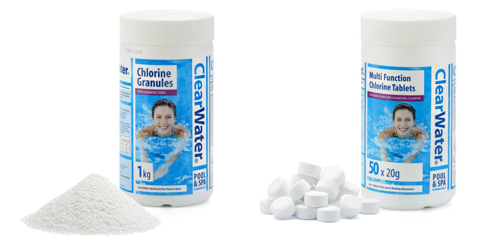 Chlorine for hot tubs to keep your hot tub water healthy. Clearwater provide a range of inflatable hot tub chemicals recommended by Lay-Z-Spa.